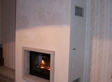 Cheminée cadre granit avec foyer chaudière 695 CH
