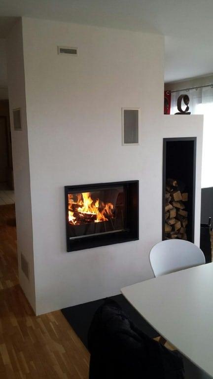 chemin e double face cadre en granit avec foyer 748 df. Black Bedroom Furniture Sets. Home Design Ideas